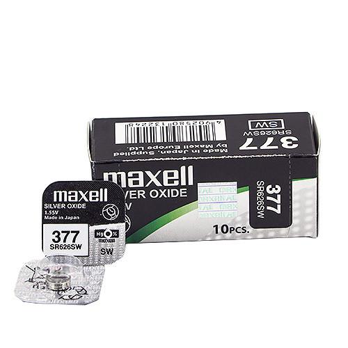 Часовая серебряно-цинковая батарейка 377  Maxell SR626SW 1/card 10/box