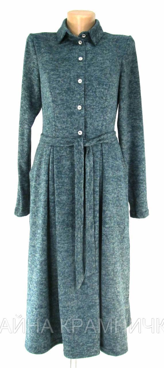 TAT587 Сукня жін. гудз відрізне по талії з паском меланж чорний р.44