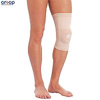 Бандаж компрессионный на коленный сустав с фиксирующей силиконовой подушкой и металлическими спиральными ребрами жесткости, S