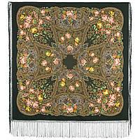 Ненаглядная 1025-10, павлопосадский платок (шаль) из уплотненной шерсти с шелковой вязанной бахромой, фото 1