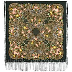 Ненаглядная 1025-10, павлопосадский платок (шаль) из уплотненной шерсти с шелковой вязанной бахромой