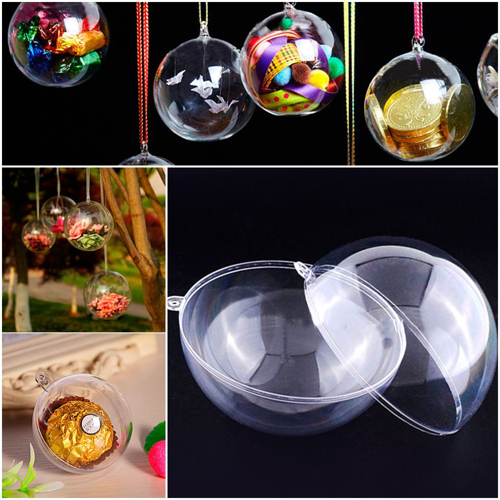 Прозрачный подвесной шар d=10см, разъёмный из акрила (пластик) Цена за 1шт, фото 1