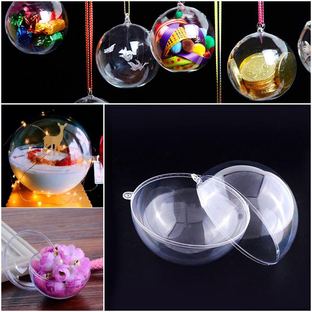Прозрачный подвесной шар d=8см, разъёмный из акрила (пластик) Цена за 1шт, фото 1