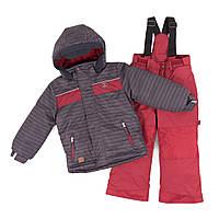 Зимний термокостюм KIDS для мальчика 3-8 лет (96-134 см) ТМ Peluche&Tartine Deep Gray / Red Leaf F18 M 61 EG, фото 1