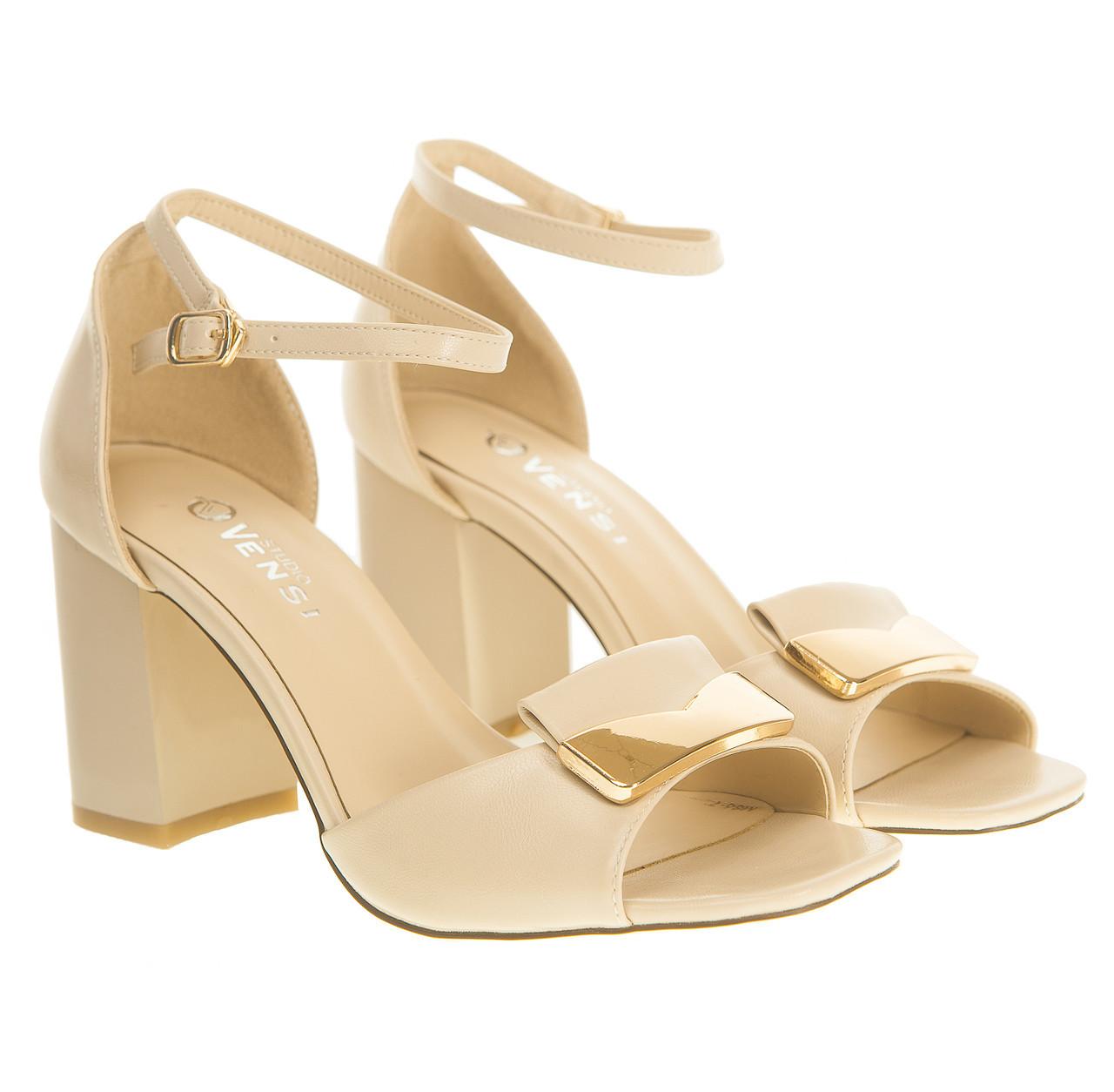 014a91119 Босоножки женские Vensi (бежевые, стильные, на каблуке, с модным декором) -