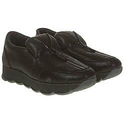 Кроссовки женские FAVI (кожаные, без застежки, оригинальные, модные, черного цвета)