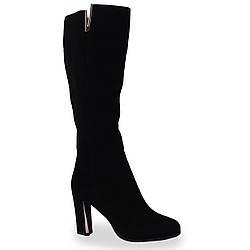 Стильные женские сапоги Reuchll (замшевые, черные, демисезонные, на каблуке, есть резинка, есть замок)