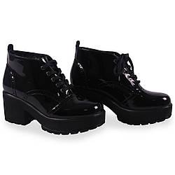 Модные женские ботинки Kadar (черные, лаковые, демисезонные, на каблуке, на платформе, на шнуровках)