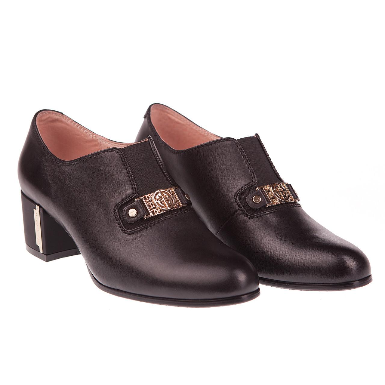 f20fd79a4413 Модные женские туфли Beratroni (кожаные, черные, весна-лето, на удобном  каблуке