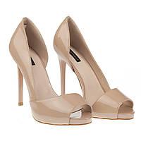 048a09661 Элегантные женские туфли Reuchll XF076-F133( лаковые, бежевые, летные, на  шпильке