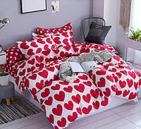 Комплект постельного белья Красные сердца  (двуспальный-евро), фото 1