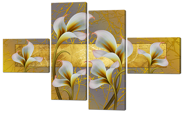 Модульная картина Калы Нетканый материал, 148х93