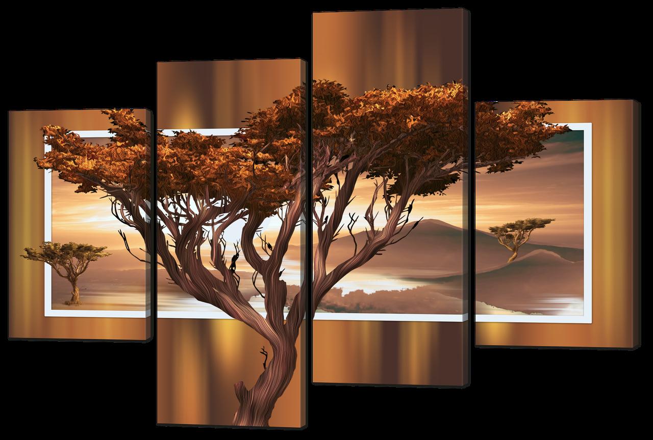 Модульная картина Дерево в саване Искусственный холст, 126x88