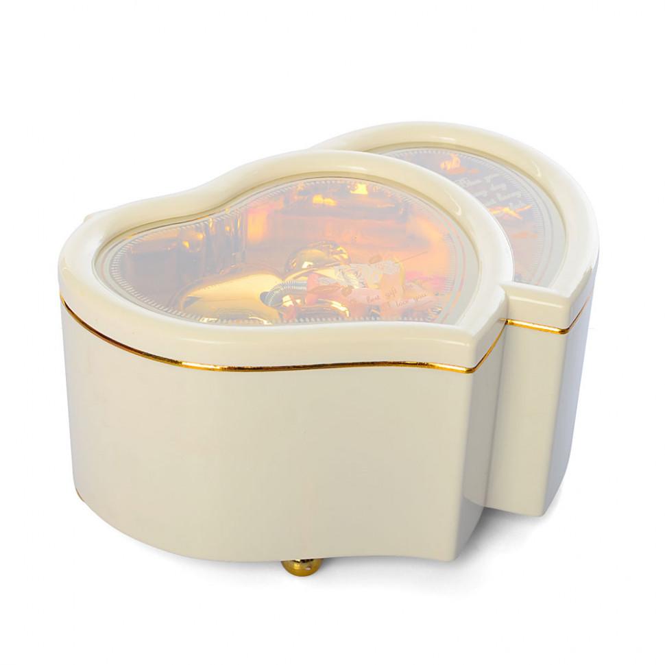 Детская Шкатулка X12527P заводная, сердце, 15см, муз,свет, на бат(таб), в кор-ке,12,5-15,5-7,5см (Белая)