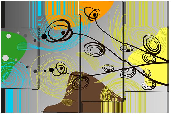Модульная картина Цветы абстракция Искусственная кожа, 94х64