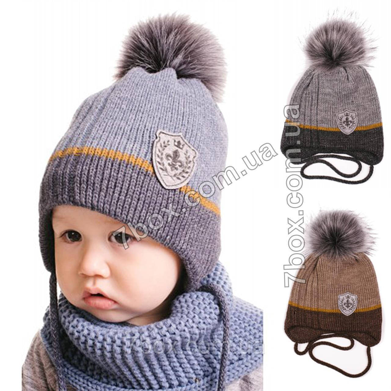 купить детская шапка для мальчиков вязаная с флисом на завязках 50