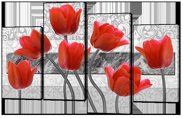 Модульная картина Красные тюльпаны Искусственная кожа, 94х61