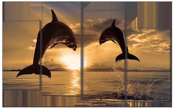 Модульная картина Дельфины в океане Искусственный холст, 126x83