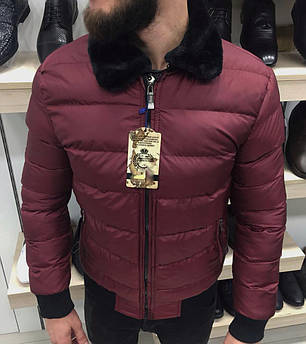 Куртка зимняя мужская вишневая, фото 2