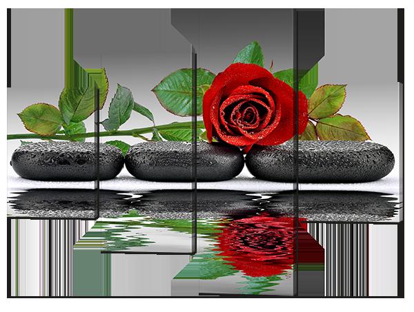 Модульная картина три камня и роза Нетканый материал, 166x125