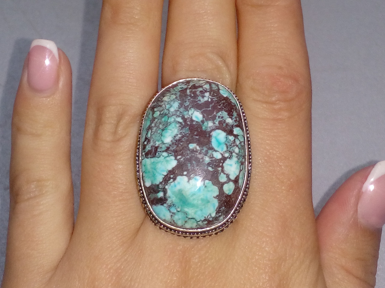 Бирюза кольцо с бирюзой 19,5-20  размер, натуральная бирюза в серебре Индия, фото 1