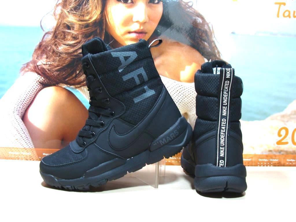 Кроссовки зимние женские Nike AF1 Mars (реплика) черные 37 р.