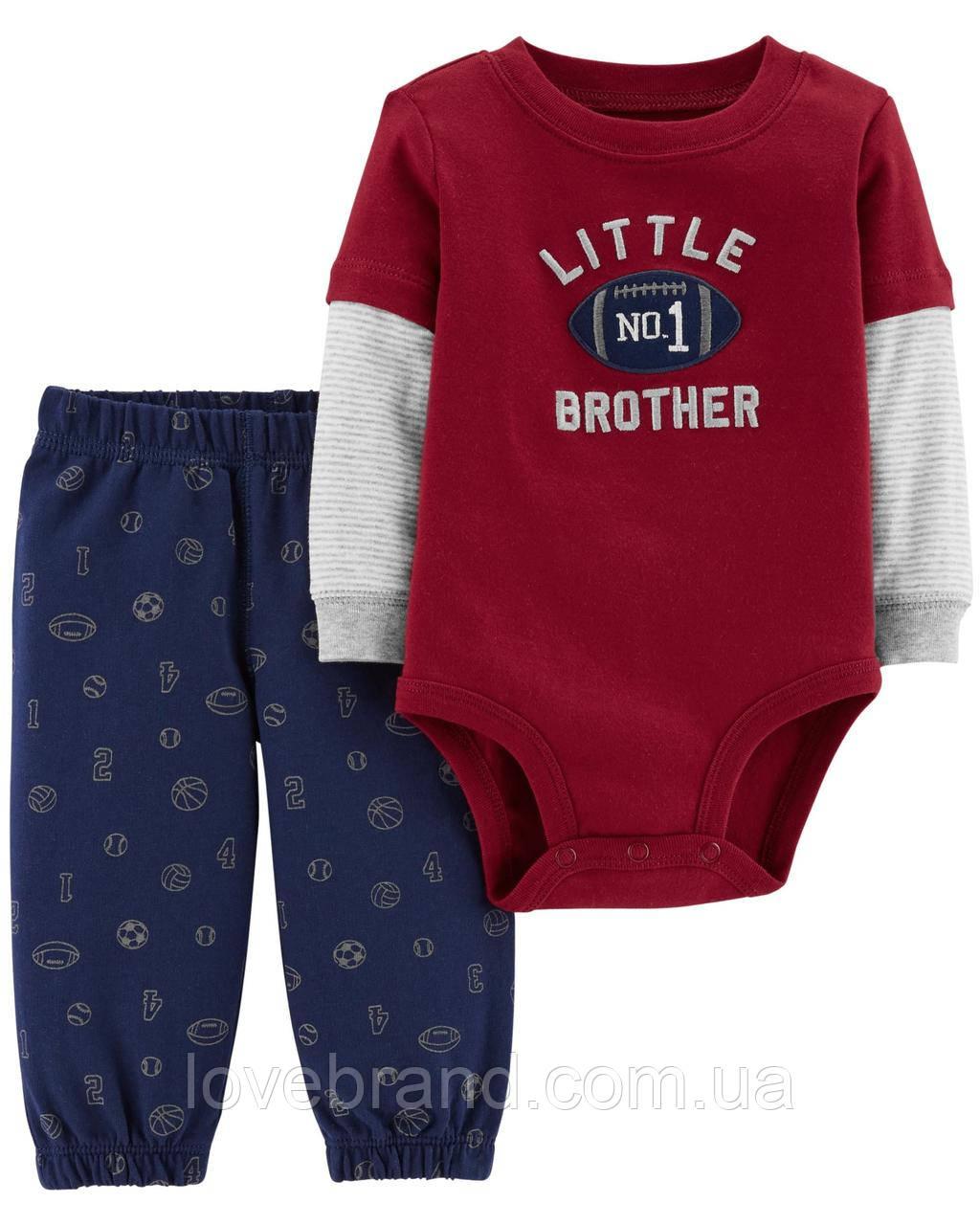 "Набор для мальчика Carter's боди + штанишки ""Little Brother №1"" 9 мес/67-72 см"