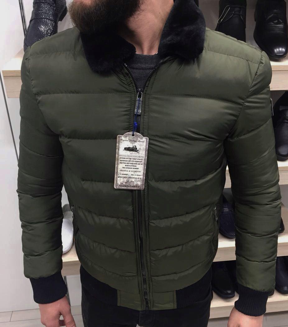 Куртка зимняя мужская с меховым воротником цвета хаки