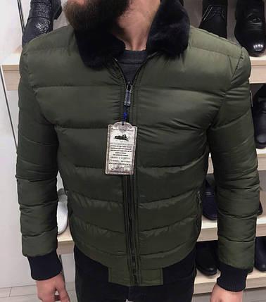Куртка зимняя мужская с меховым воротником цвета хаки, фото 2
