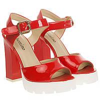 Босоножки женские Gelsomino (красные, на каблуке и платформе, лаковые, изысканные)