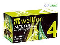 Иглы Веллион Wellion MEDFINE plus для шприц-ручек 0,23мм (32G)*4мм, фото 1