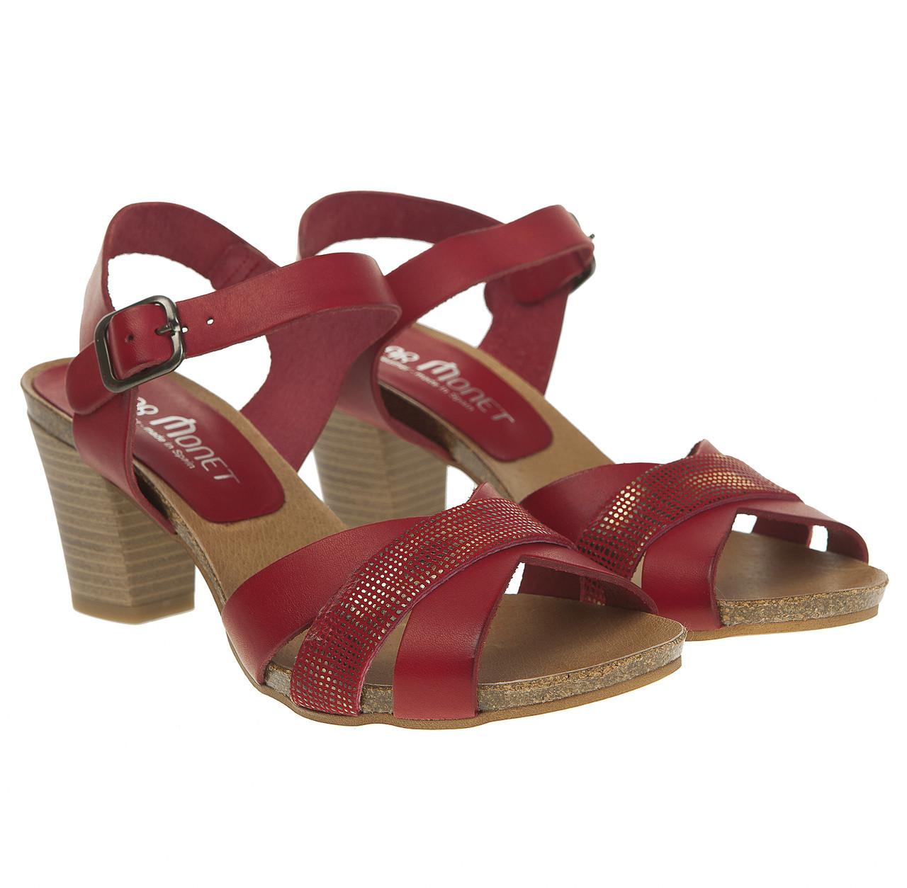 a92a1691b Босоножки женские Pilar Monet (кожаные, на каблуке, удобная застежка) -  Интернет-