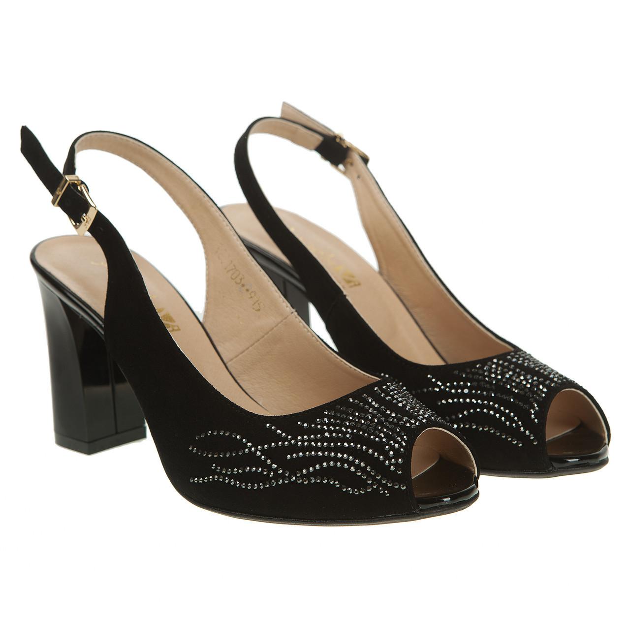 69b356294 Босоножки женские Angels (черные, замшевые, со стразами, на высоком  каблуке) -