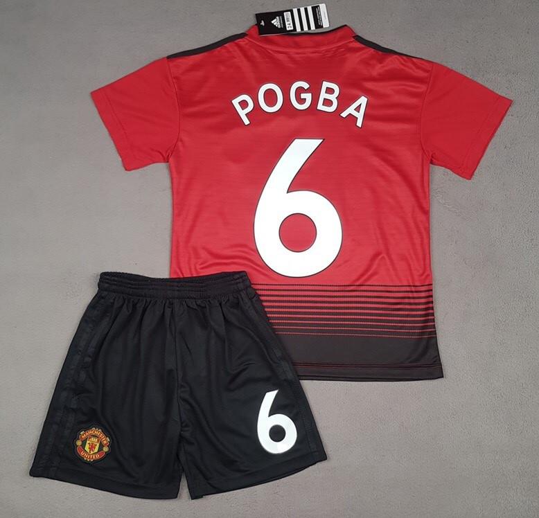 Футбольная форма детская Манчестер Юнайтед красная Pogba (Погба)  (сезон 2018-2019)