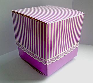 Подарункова упаковка для чашки з принтом (фіолетова)