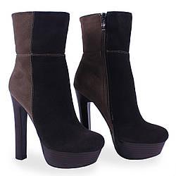 Модные женские ботильоны Brocoly (демисезонные,черный+коричневый,на високом каблуке, на платформе, есть замок)
