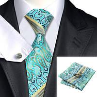 JASON&VOGUE Подарочный галстук бирюзовый с капучино
