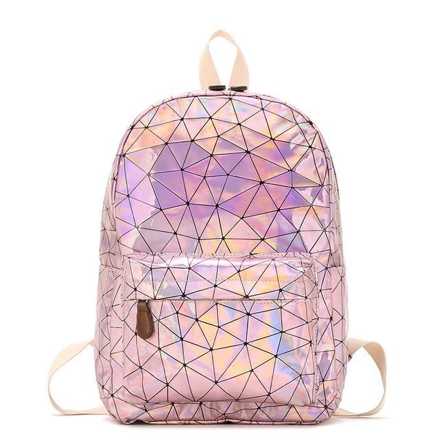Голограммный рюкзак Геометрія рожевий