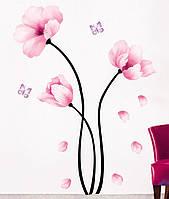 Інтер'єрна наліпка на стіну Квіти Акварель / Интерьерная наклейка на стену Цветы Акварель (mAY930)