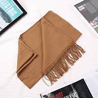Зимний однотонный женский шарф с бахромой коричневый, фото 1