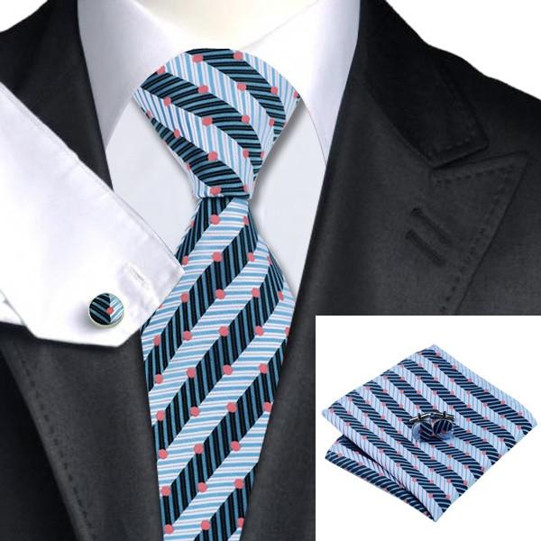 JASON&VOGUE Подарочный галстук голубой в полоску и горошек