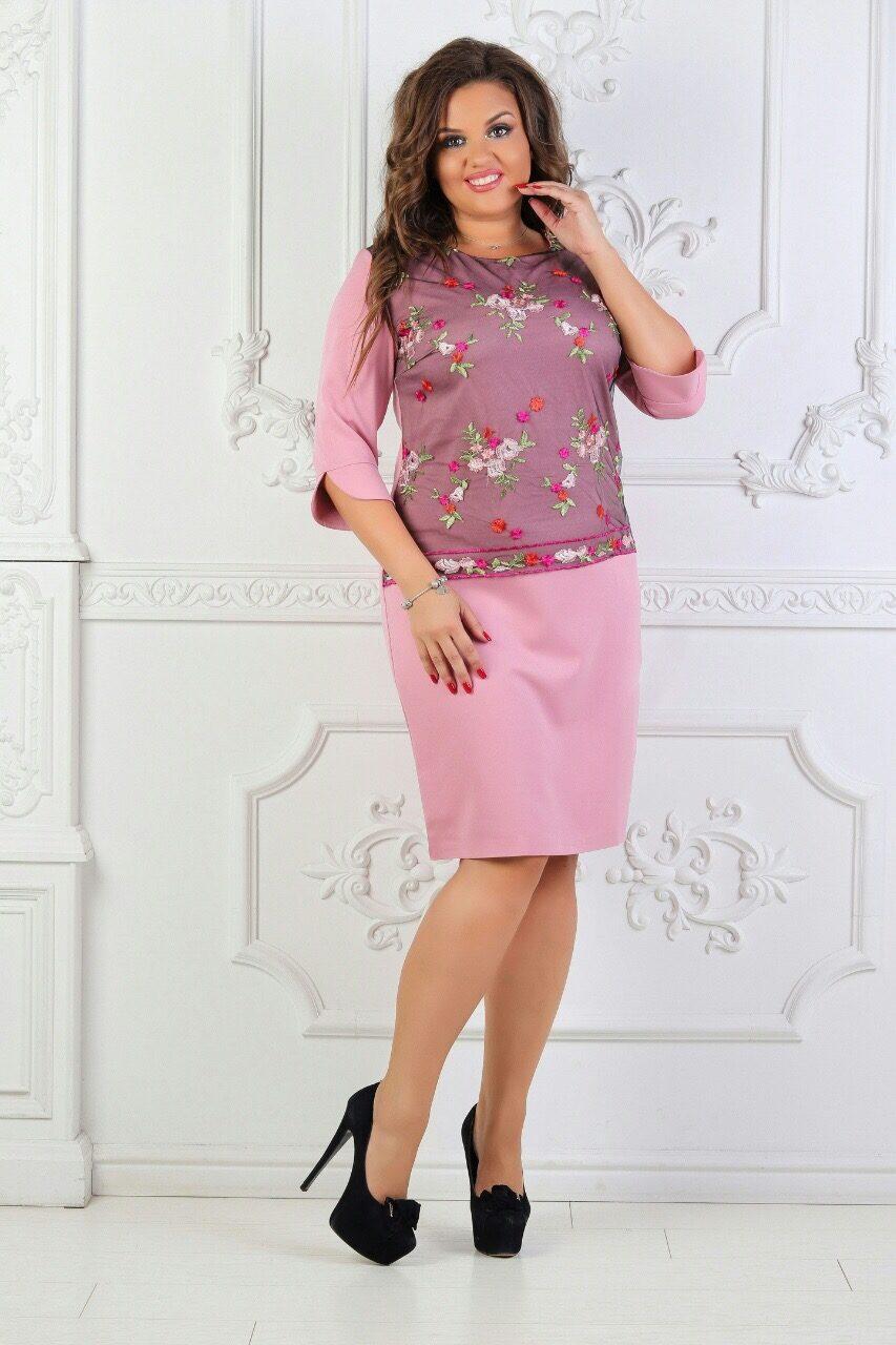 """Элегантное женское с вышивкой гладью """"Костюмная ткань"""" 50, 54, 56 размер батал"""