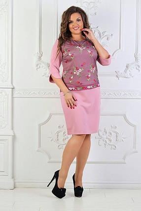 """Элегантное женское с вышивкой гладью """"Костюмная ткань"""" 50, 54, 56 размер батал, фото 2"""