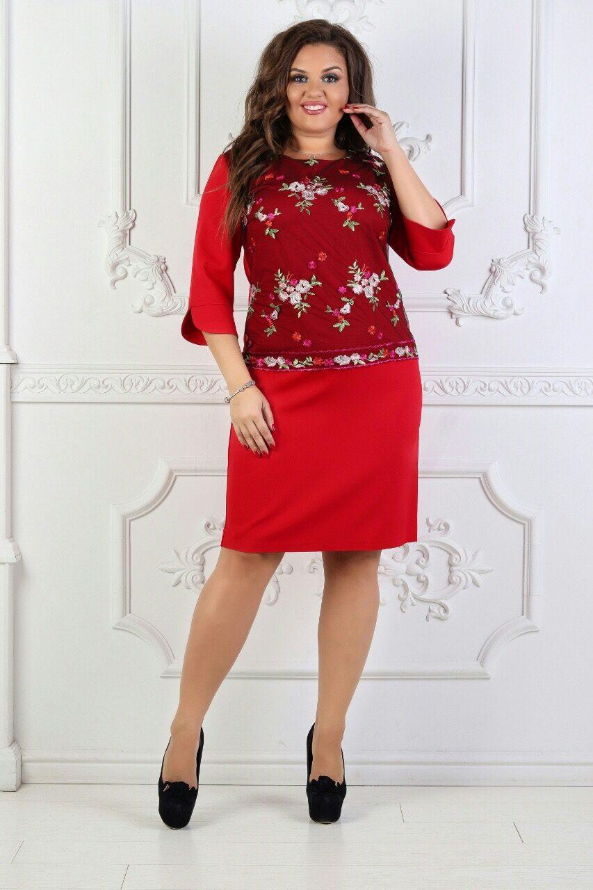 """Элегантное женское с вышивкой гладью """"Костюмная ткань"""" кр. 50, 58 размер батал"""