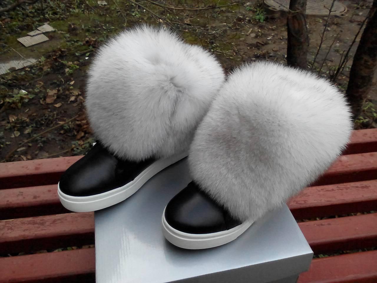6394dd5fb Зимние черные ботинки с натуральным белым мехом ПЕСЦА натуральная кожа -  ГЛЯНЕЦ | Интернет-магазин