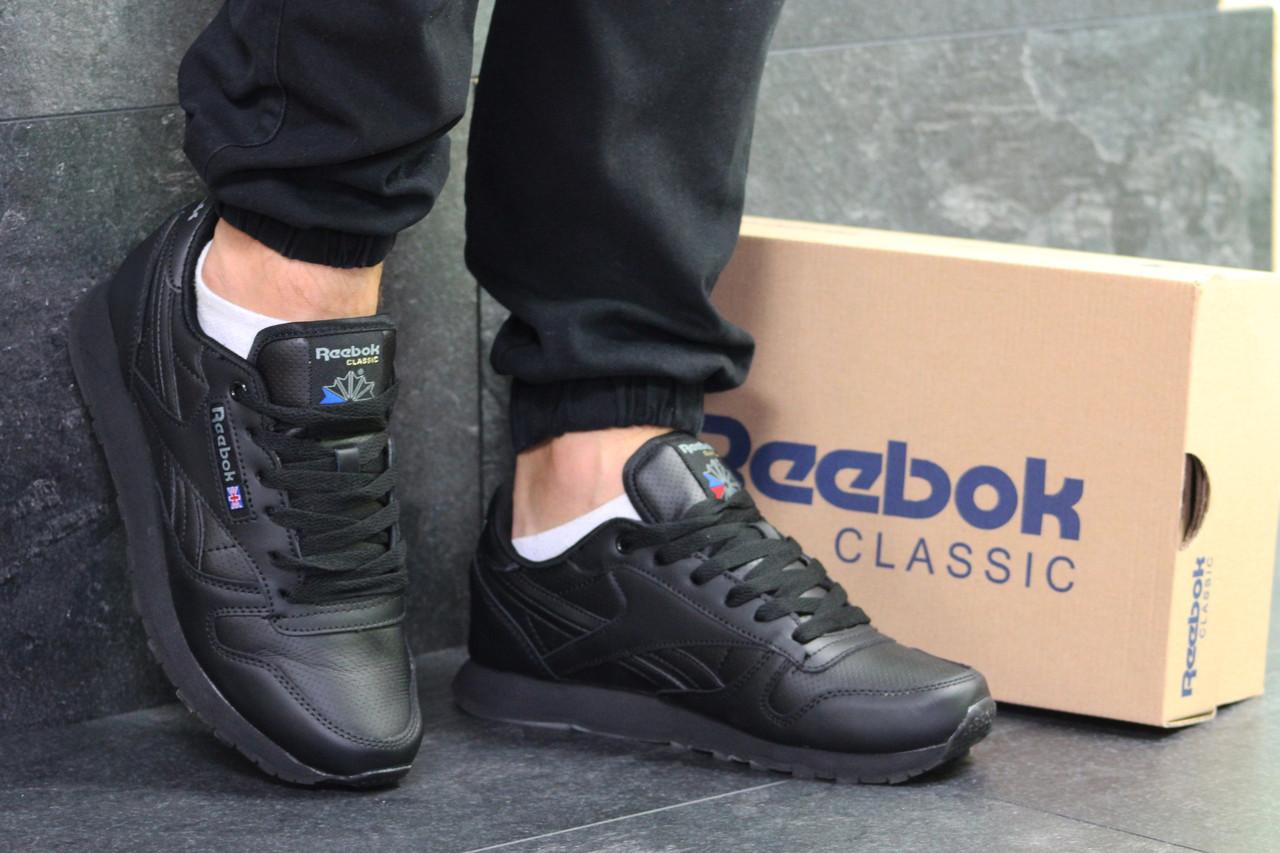 21aa3903 Мужские кроссовки Reebok Classic черные натуральная кожа ( Реплика ААА+) -  bonny-style