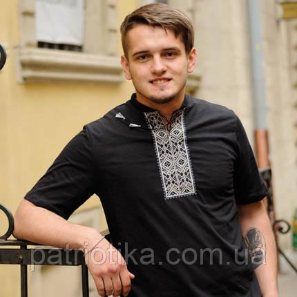 Черная мужская футболка-вишиванка    Чорна чоловіча футболка-вишиванка , фото 2