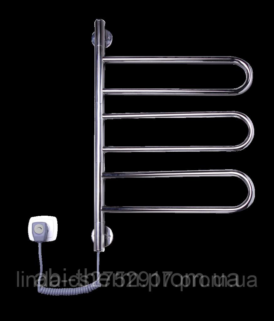 """Электрический полотенцесушитель """"Флюгер-3-поворотный Нержавейка"""" 67 Вт 735х460х40."""