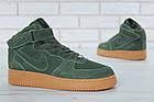 Мужские зимние кроссовки Nike Air Force High Winter (зимние Найк Аир Форс в стиле) с мехом зеленые, фото 3