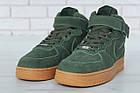 Мужские зимние кроссовки Nike Air Force High Winter (зимние Найк Аир Форс в стиле) с мехом зеленые, фото 4